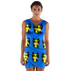 Yellow and blue firefies Wrap Front Bodycon Dress