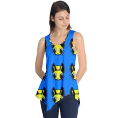 Yellow And Blue Firefies Sleeveless Tunic