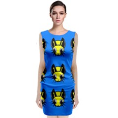 Yellow and blue firefies Classic Sleeveless Midi Dress