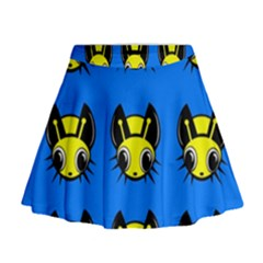 Yellow and blue firefies Mini Flare Skirt