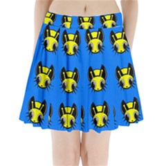 Yellow and blue firefies Pleated Mini Mesh Skirt