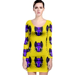 Blue and yellow fireflies Long Sleeve Bodycon Dress