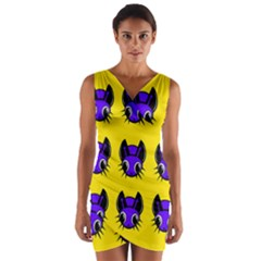Blue and yellow fireflies Wrap Front Bodycon Dress