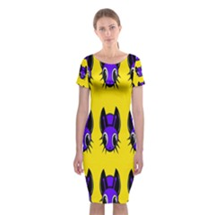 Blue And Yellow Fireflies Classic Short Sleeve Midi Dress