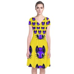 Blue and yellow fireflies Short Sleeve Front Wrap Dress