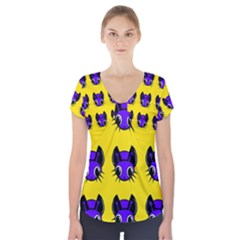 Blue And Yellow Fireflies Short Sleeve Front Detail Top