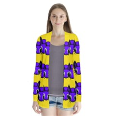 Blue and yellow fireflies Drape Collar Cardigan
