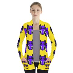 Blue and yellow fireflies Women s Open Front Pockets Cardigan(P194)