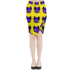 Blue And Yellow Fireflies Midi Wrap Pencil Skirt
