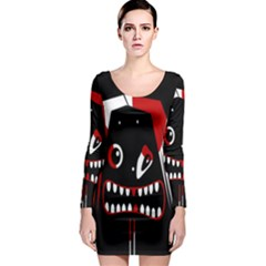 Zombie face Long Sleeve Bodycon Dress