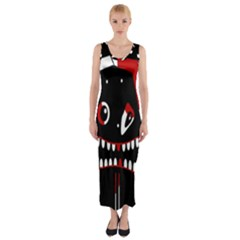 Zombie Face Fitted Maxi Dress