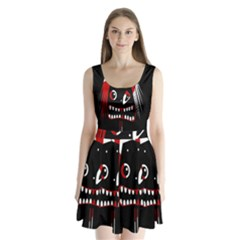 Zombie Face Split Back Mini Dress
