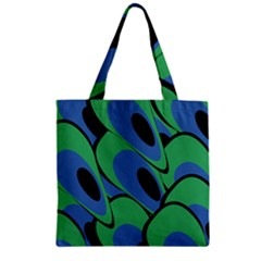 Peacock pattern Zipper Grocery Tote Bag