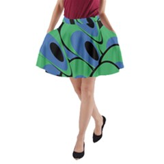 Peacock pattern A-Line Pocket Skirt