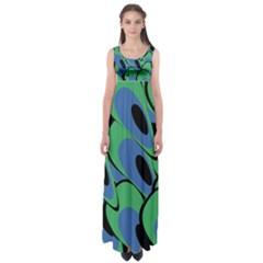 Peacock Pattern Empire Waist Maxi Dress