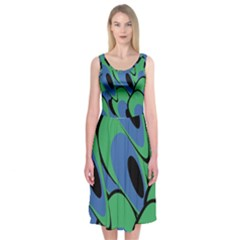 Peacock pattern Midi Sleeveless Dress