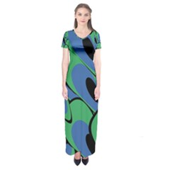 Peacock Pattern Short Sleeve Maxi Dress