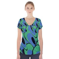 Peacock pattern Short Sleeve Front Detail Top