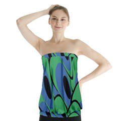 Peacock Pattern Strapless Top