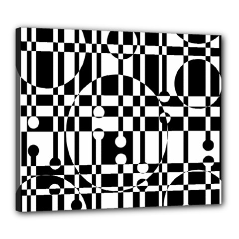 Black and white pattern Canvas 24  x 20