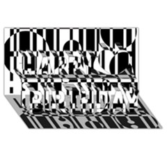 Black and white pattern Happy Birthday 3D Greeting Card (8x4)