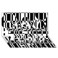 Black and white pattern Best Friends 3D Greeting Card (8x4)