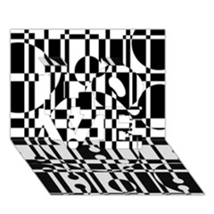 Black and white pattern LOVE 3D Greeting Card (7x5)