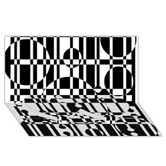 Black and white pattern Twin Heart Bottom 3D Greeting Card (8x4)