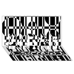 Black and white pattern #1 DAD 3D Greeting Card (8x4)