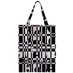 Black and white pattern Zipper Classic Tote Bag