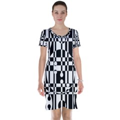 Black and white pattern Short Sleeve Nightdress