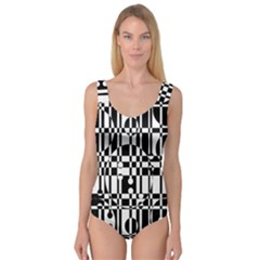 Black And White Pattern Princess Tank Leotard