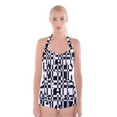 Black and white pattern Boyleg Halter Swimsuit