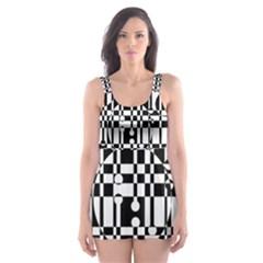 Black and white pattern Skater Dress Swimsuit