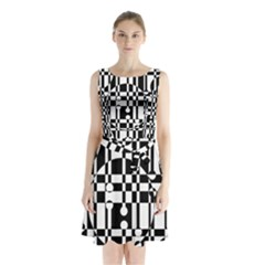 Black And White Pattern Sleeveless Waist Tie Dress