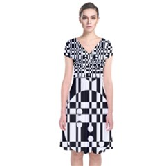 Black and white pattern Short Sleeve Front Wrap Dress