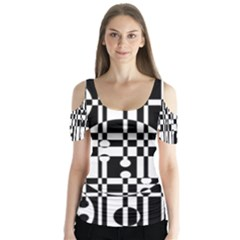 Black and white pattern Butterfly Sleeve Cutout Tee
