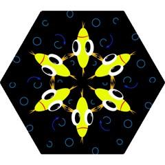 Yellow fish Mini Folding Umbrellas