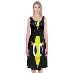 Yellow Fish Midi Sleeveless Dress