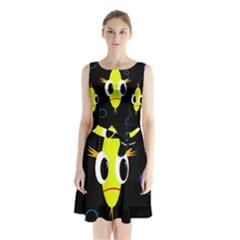 Yellow fish Sleeveless Waist Tie Dress