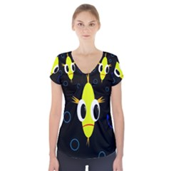 Yellow fish Short Sleeve Front Detail Top