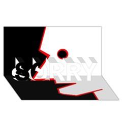 Man SORRY 3D Greeting Card (8x4)