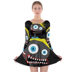 Crazy man Long Sleeve Skater Dress
