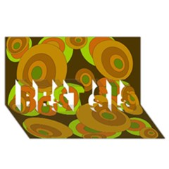 Brown pattern BEST SIS 3D Greeting Card (8x4)