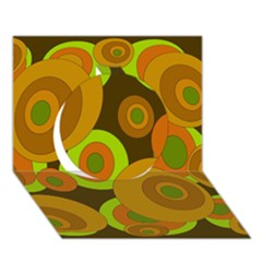 Brown pattern Circle 3D Greeting Card (7x5)