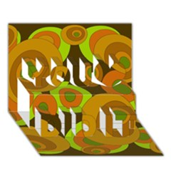 Brown pattern You Did It 3D Greeting Card (7x5)