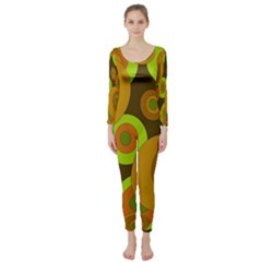Brown pattern Long Sleeve Catsuit