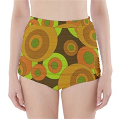 Brown pattern High-Waisted Bikini Bottoms