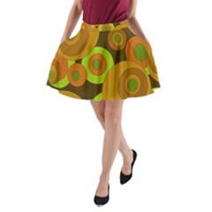 Brown pattern A-Line Pocket Skirt