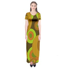 Brown pattern Short Sleeve Maxi Dress